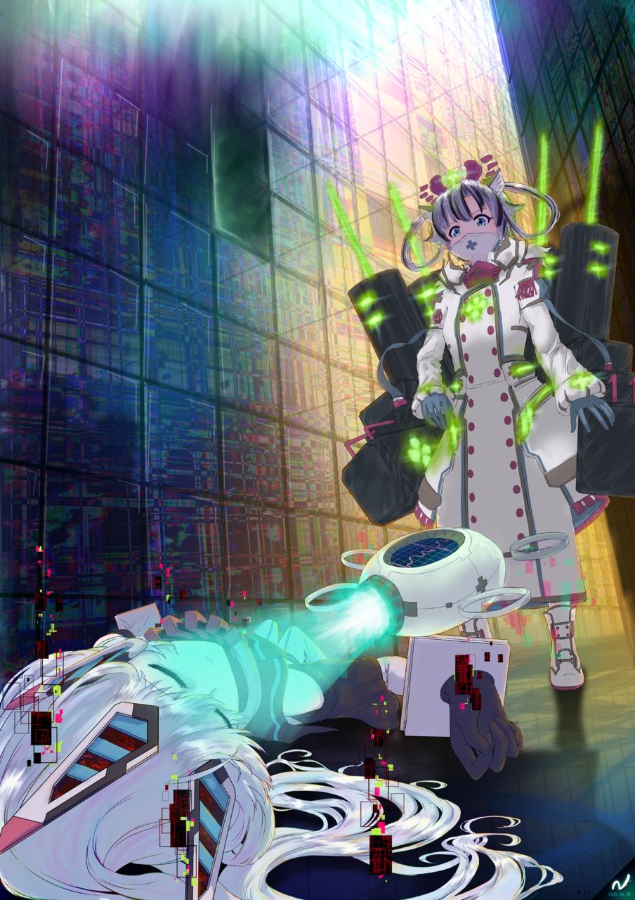 電脳深界N 04 Illust of N(・~・) November2020_Contest:Cyberpunk シエラ うちの子 電脳深界N オリジナル創作 オリジナルキャラ ルミナ