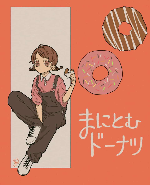 ドーナツ Illust of まにとむ original girl donut illustration