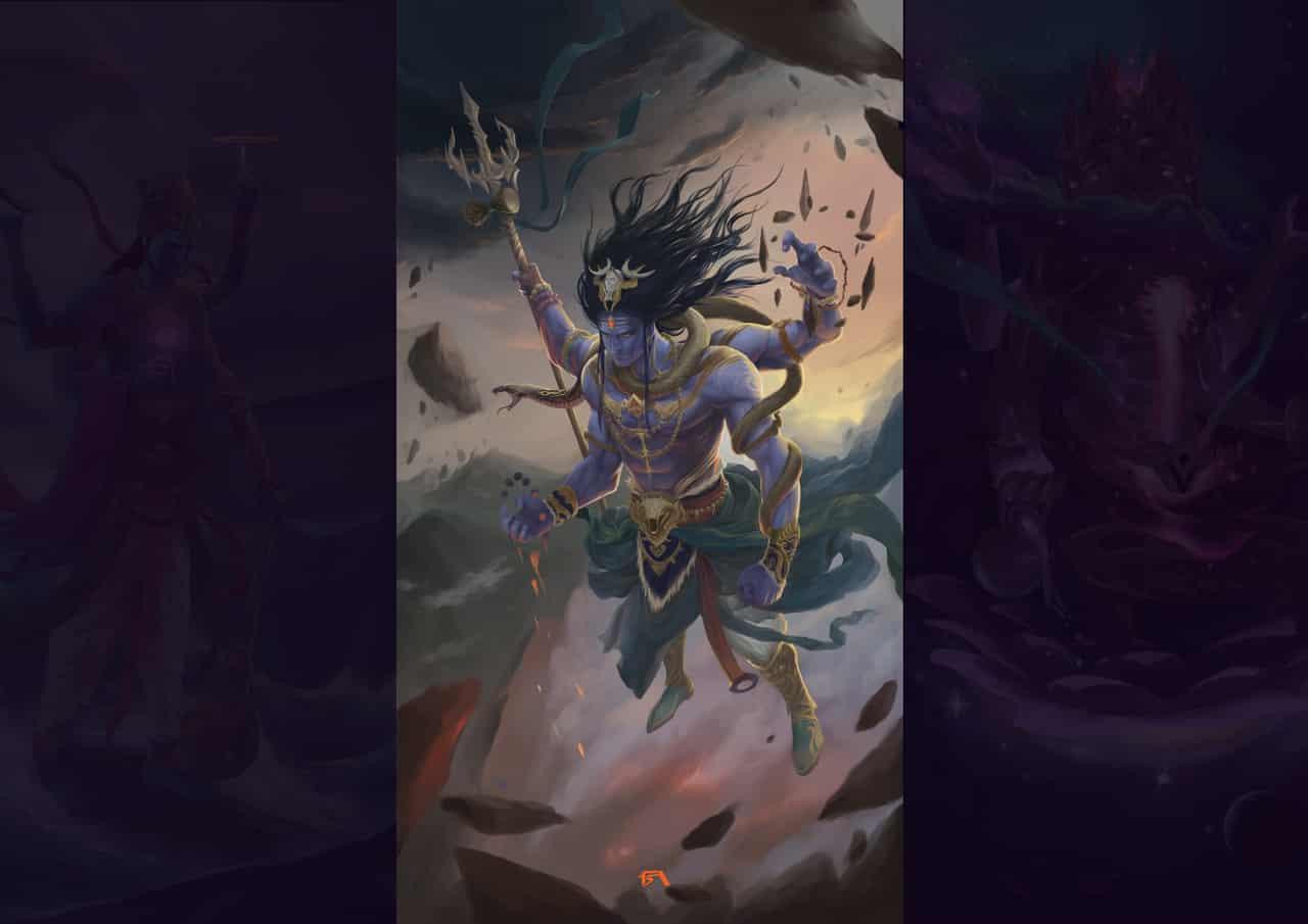 Trimūrti  Illust of sandkuwng God illustration hinduism commission