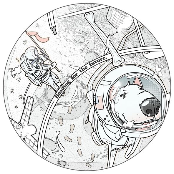 One small step for you Illust of A-King illustration dog 向量 creative illustrator moon ベクトル描画 visualart vector