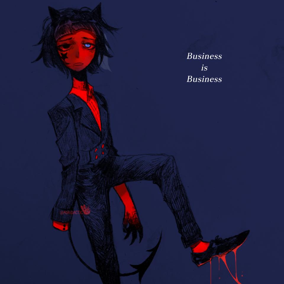 Just Business Illust of Leporidactic oc demon devil red dark suit mixedmedia
