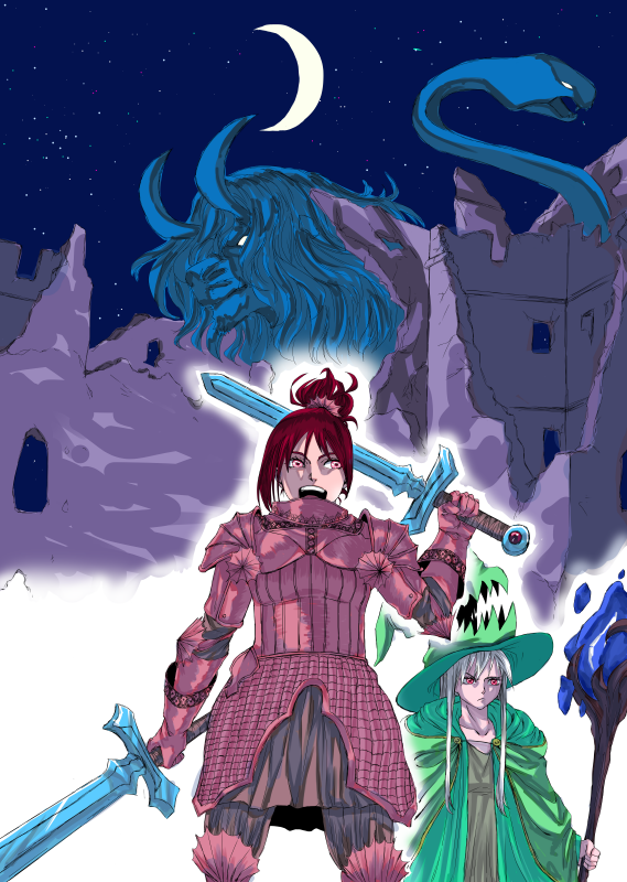 Moonlight battle Illust of Akemi-charl adventure February2021_Fantasy oc moon mystical