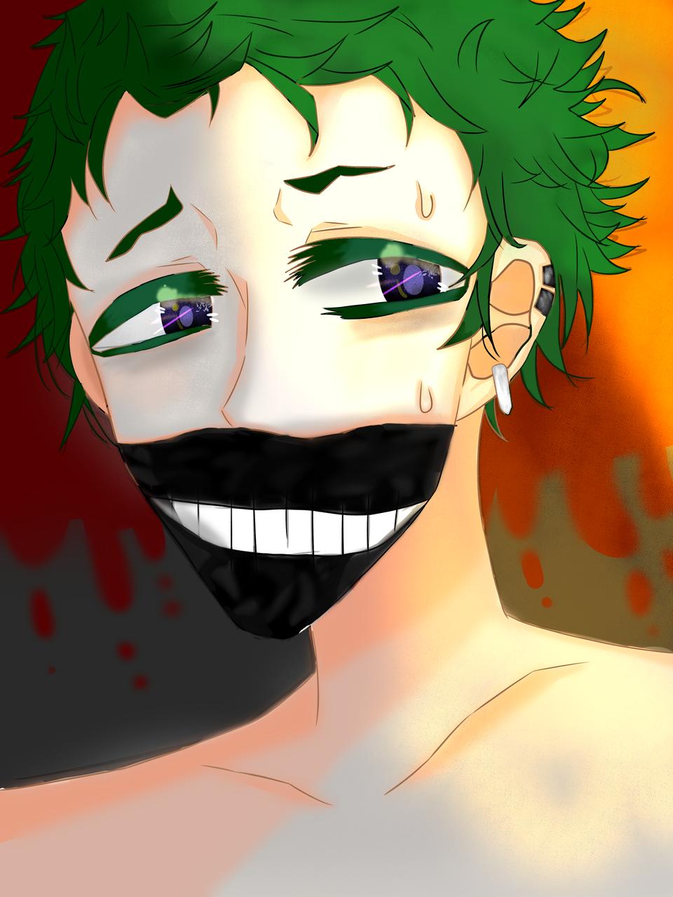 どうしようかな~ Illust of しゃっくりみかん January2021_Contest:OC black illustration green boy