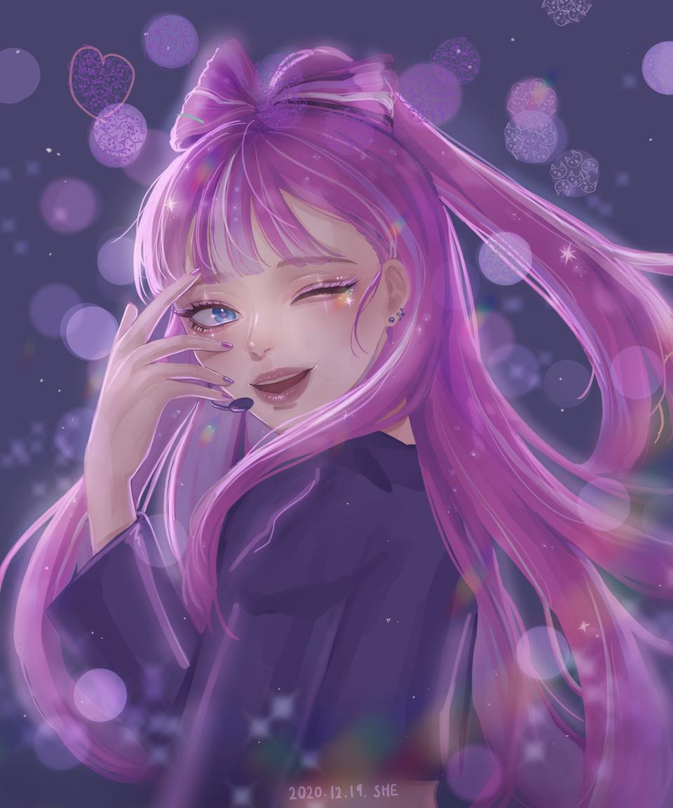 샤이닝 글린터맛 쿸 Illust of 플린 medibangpaint girl shining pink Cookie_Run