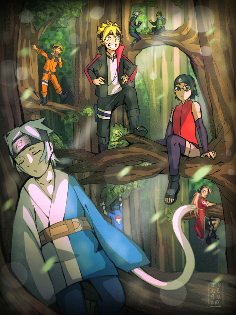 Boruto and Naruto team 7 in the forest