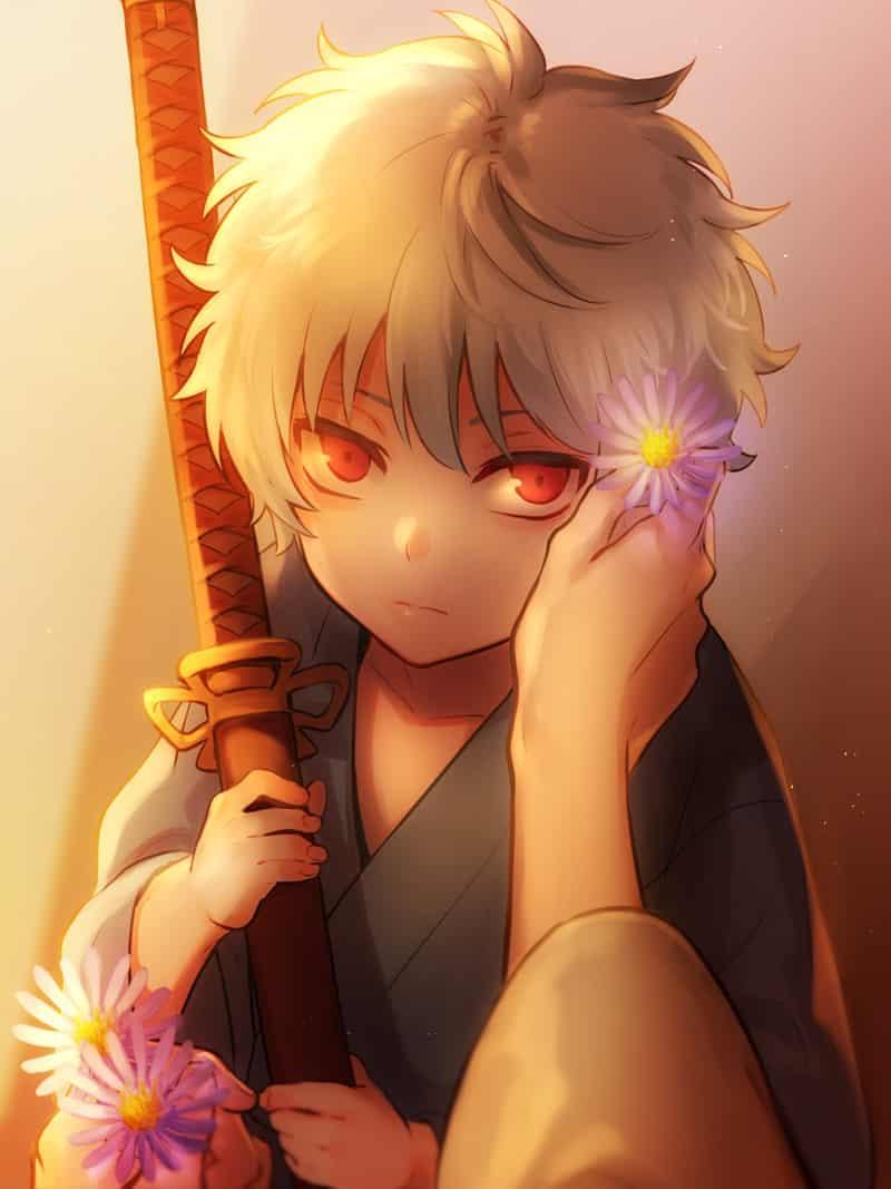 銀さんHappyBirthday!! Illust of SHIN GintokiSakata fanart flower Gintama