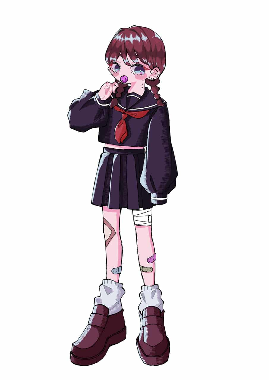 女の子 Illust of なぎ 飴 おんなのこ sailor_uniform oc 絆創膏