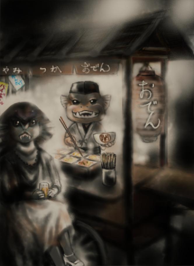 古代魚闇塚さんと女優コブラガールの打ち上げ