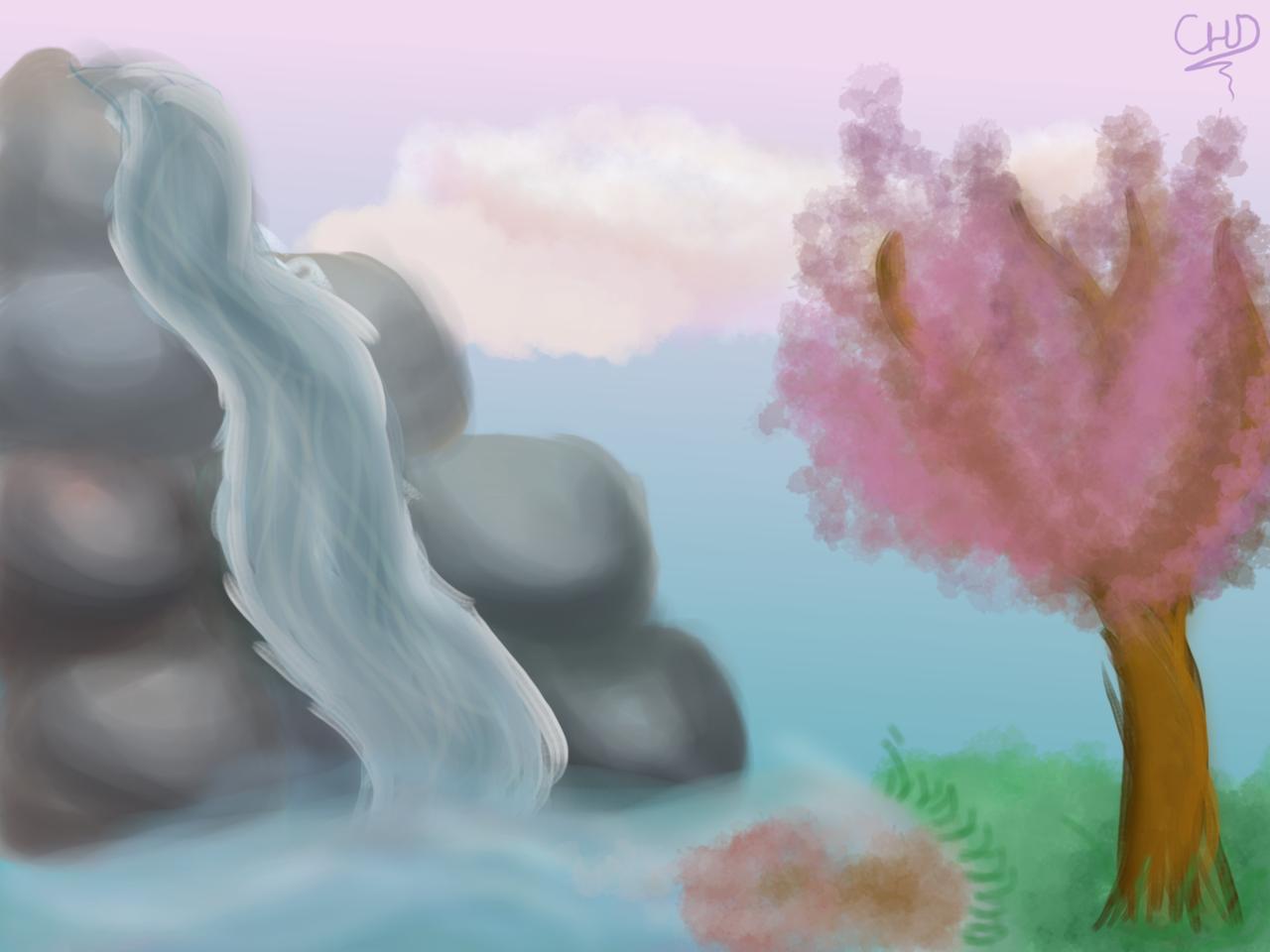 Cherry Blossom Landscape Illust of CrazyHorseDragon medibangpaint