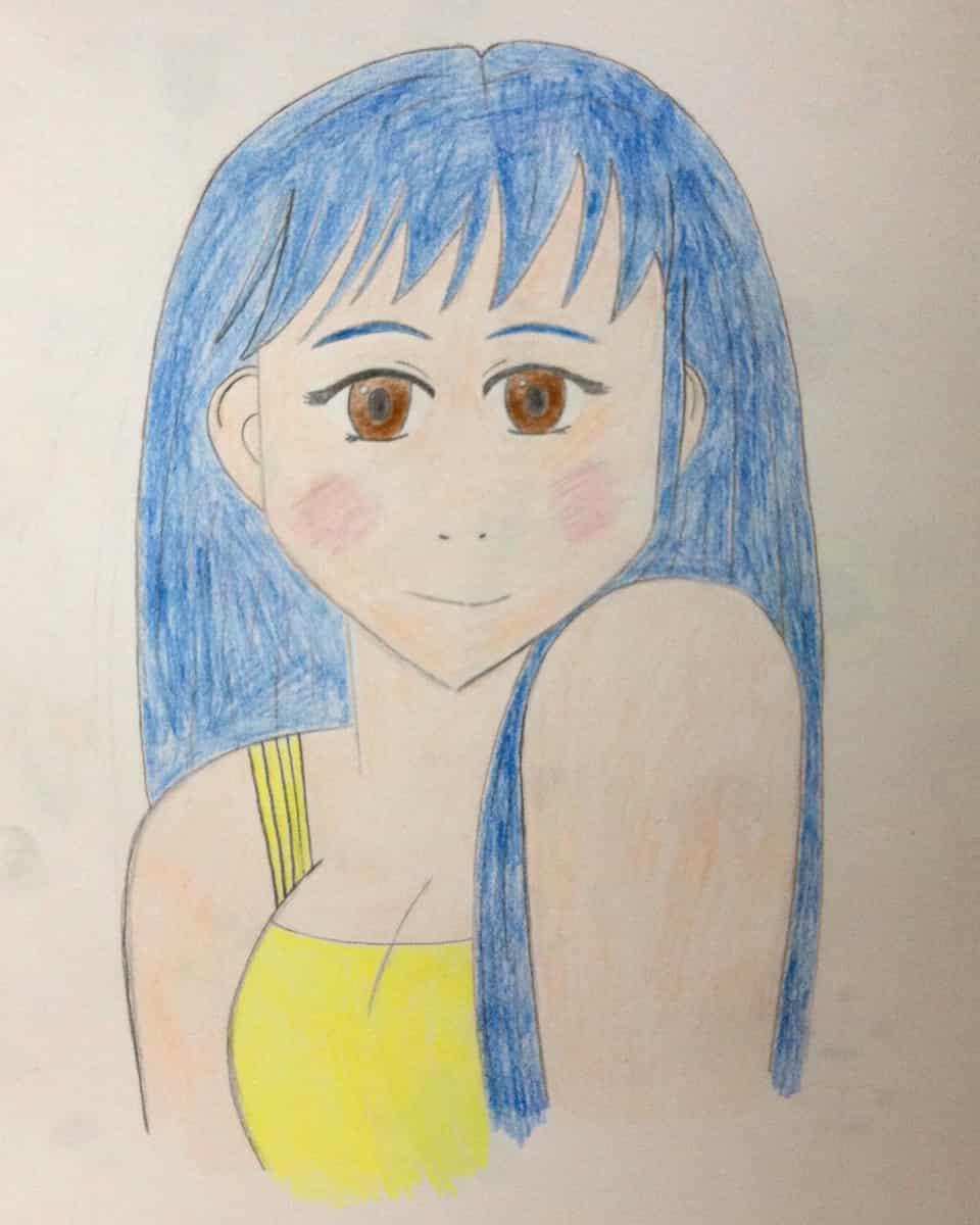 Anime Portrait (first attempt) Illust of Rue Lee art coloredpencil bluehair portrait anime drawing animeart animegirl cute