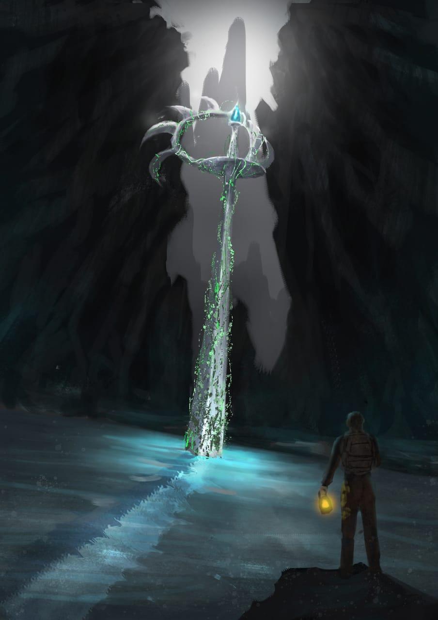 wing sword Illust of CHI-NAI February2021_Fantasy original 光 scenery wings illustration background