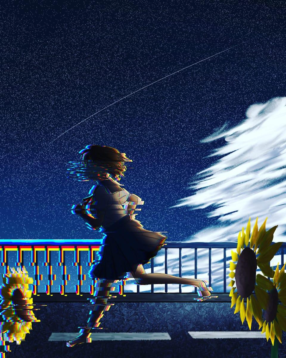 終わりなき夏の夜 Illust of 執抖 sky painting scenery night illustration girl background art