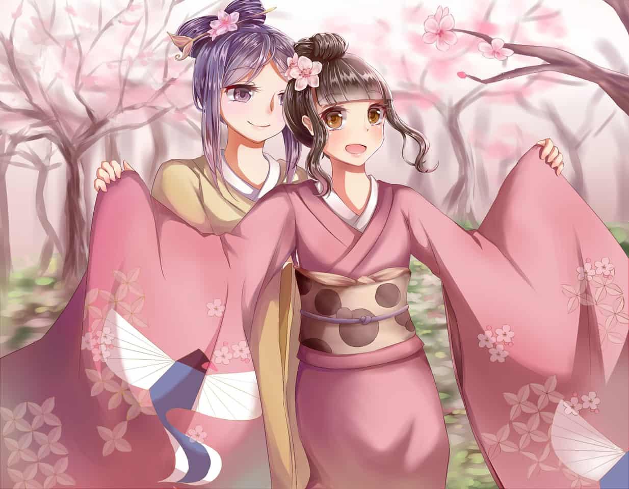 交織 Illust of 雨兔 Kyoto_Award2020_illustration sakura kimono 臺灣 girl