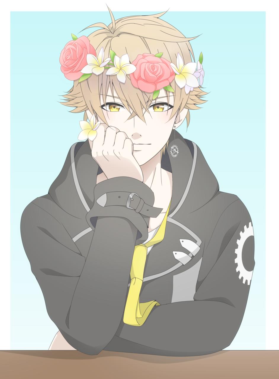 March E. Flaxen  Illust of Bee 48 digital original flowers oc boy manga yelloweyes flowercrown smile