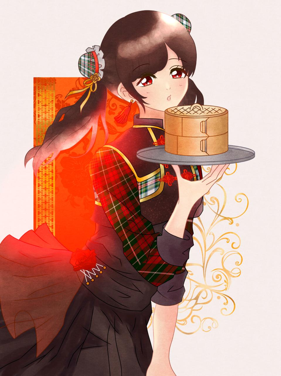チャイナ Illust of 桜 宮美 chinagirl girl cheongsam impasto 桜宮美