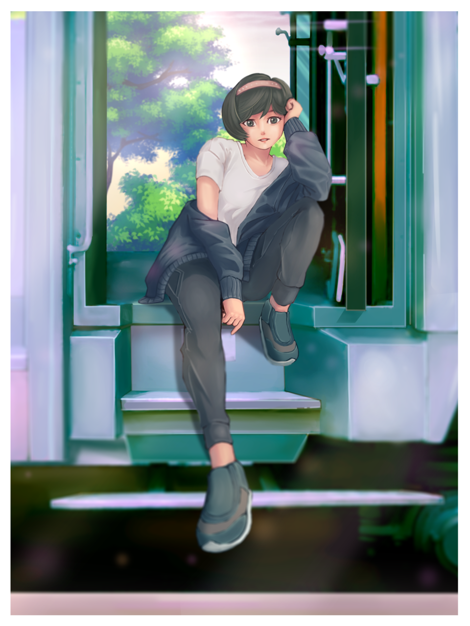 Waiting for the Train Departure Illust of zain.mapp 3rdMCPOillustration summer train