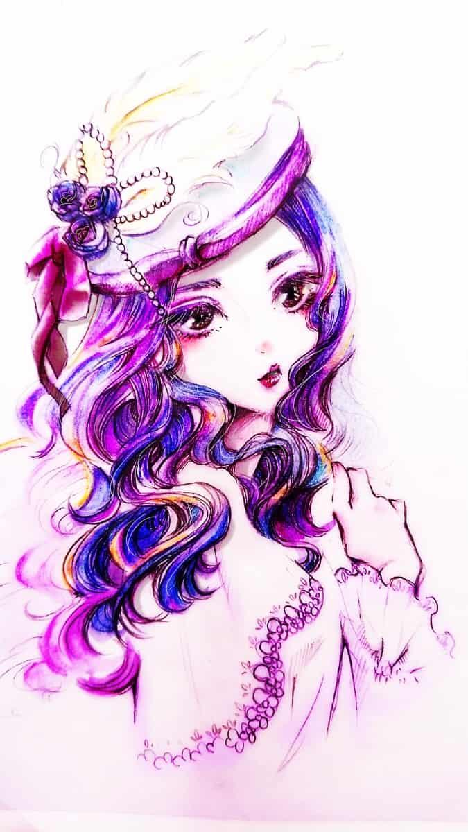女性 Illust of なの香 purple girl original