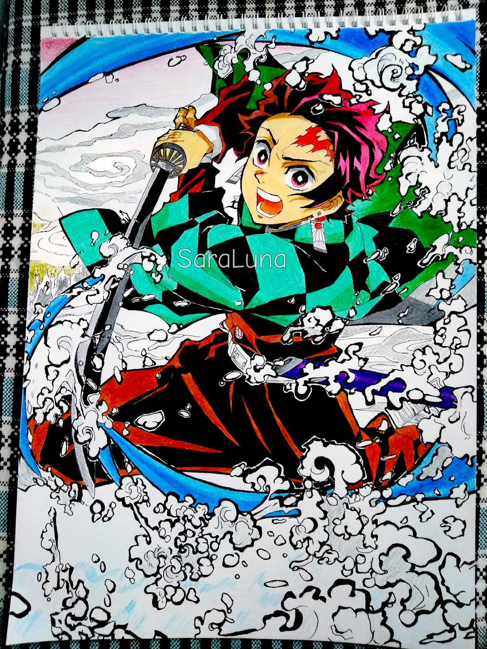Kamado Tanjirou Illust of SaraLuna02 DemonSlayerFanartContest anime fanart KimetsunoYaiba traditionalart manga art KamadoTanjirou traditional boy