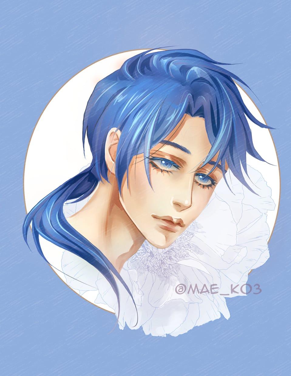 """How to draw manga"" redraw challenge^^ Illust of mae_ko3 boy howtodrawmangaredraw blue artchallenge redraw flower CLIPSTUDIOPAINT redrawchallenge 美少年 bluehair"