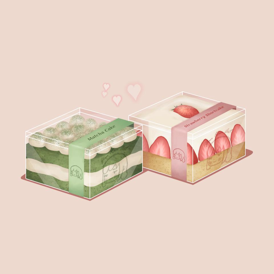 Little cakes Illust of Yan green pink yummy strawberry food sweet matcha dessert cake