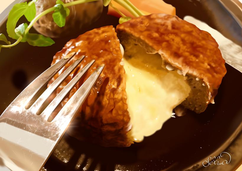 チーズインハンバーグ Illust of せつら ARTstreet_Ranking ハンバーグ 模写 食べもの 飯テロ チーズ