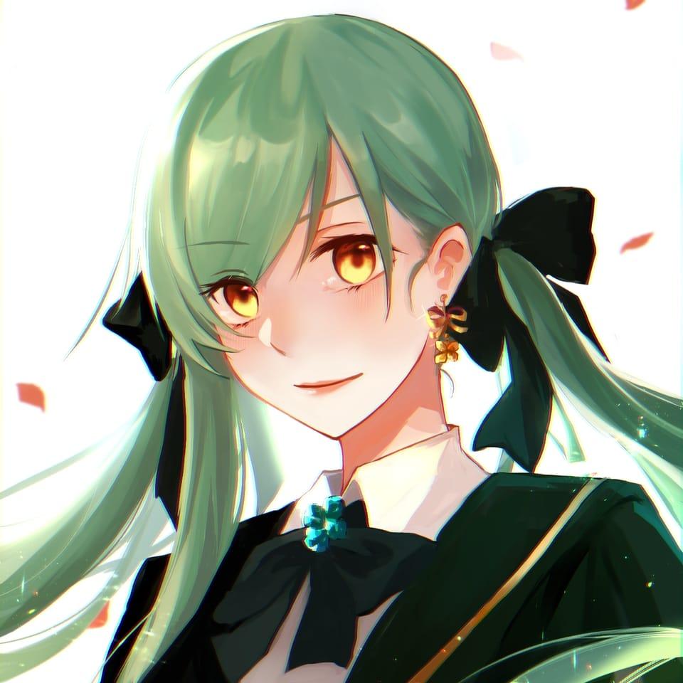 芊律 Illust of Ritsu 芊律 September2021_Girl original girl 綠髮 woman 雙馬尾娘
