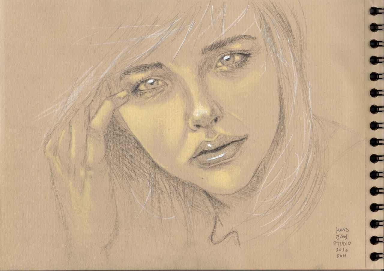 Chloë Grace Moretz (portrait) Illust of Hard-Jaw beauty cute crayonpastel realiste face ChloëMoretz
