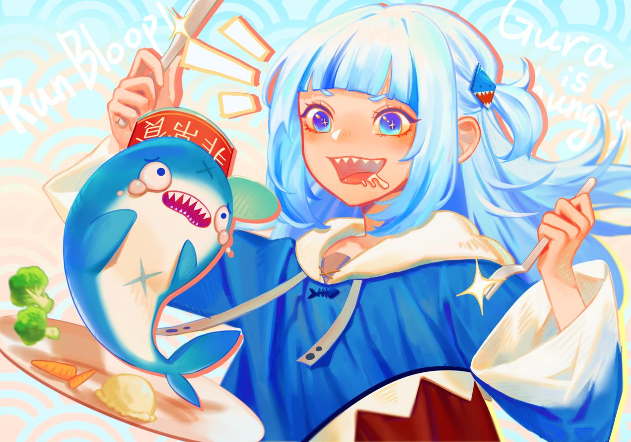 GawrGura Illust of Salmon Post_Multiple_Images_Contest Shark GawrGura virtual_YouTuber gawrt