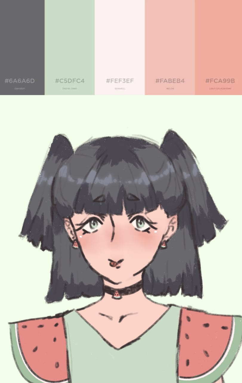 adopt for person WIP Illust of AnonymouseSaysHoooi dress sketch daily_doodlez palette watermelon adopt gorl WIP