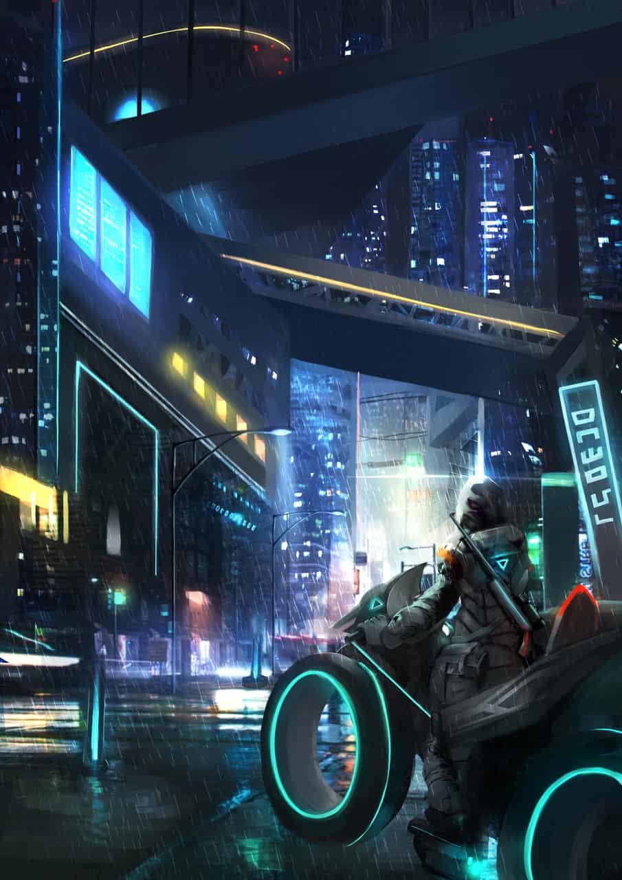 -夜の街- Illust of Deco sci-fi background original motorcycle medibangpaint