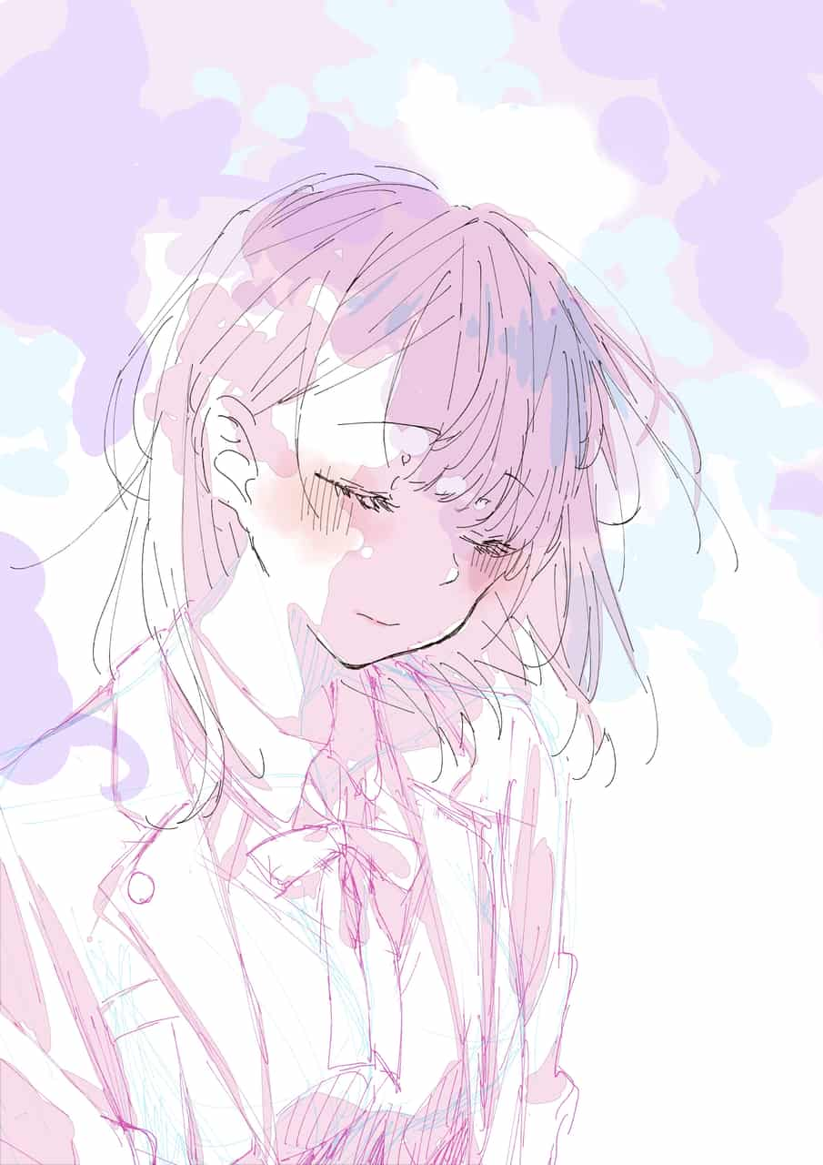 色塗り前後のBefore after Illust of 星野 ゆか@再浮上 Post_Multiple_Images_Contest original girl 茶髪 メイキング uniform ブラウス お花