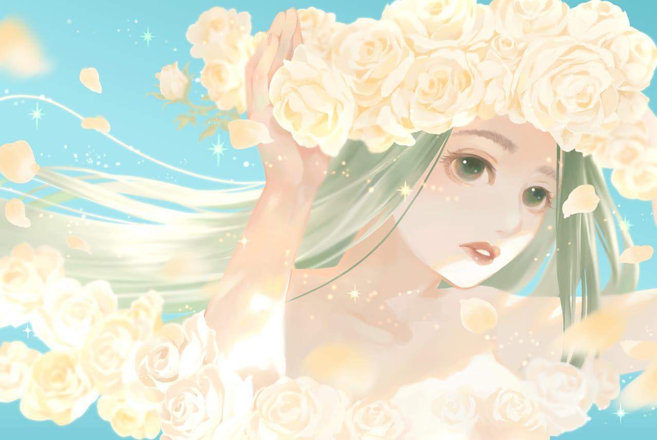 白薔薇 Illust of 砂虫隼 April2021_Flower rose girl キラキラ oc original star flower