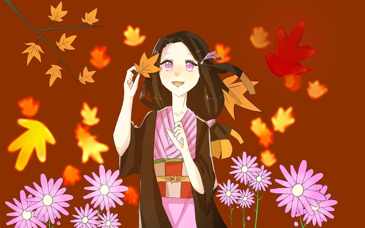 秋桜 Illust of おみそ@だいぶ新規絵出した CLIPSTUDIOPAINT girl KimetsunoYaiba flower illustration fanart KamadoNezuko コスモス 紅葉