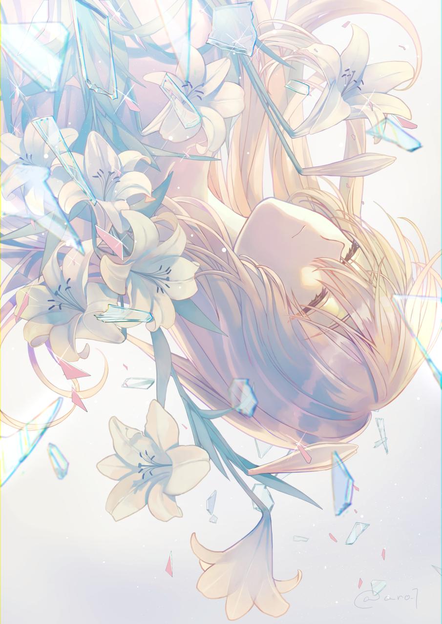 堕ちるリリーホワイト Illust of ありおか original girl flower 百合