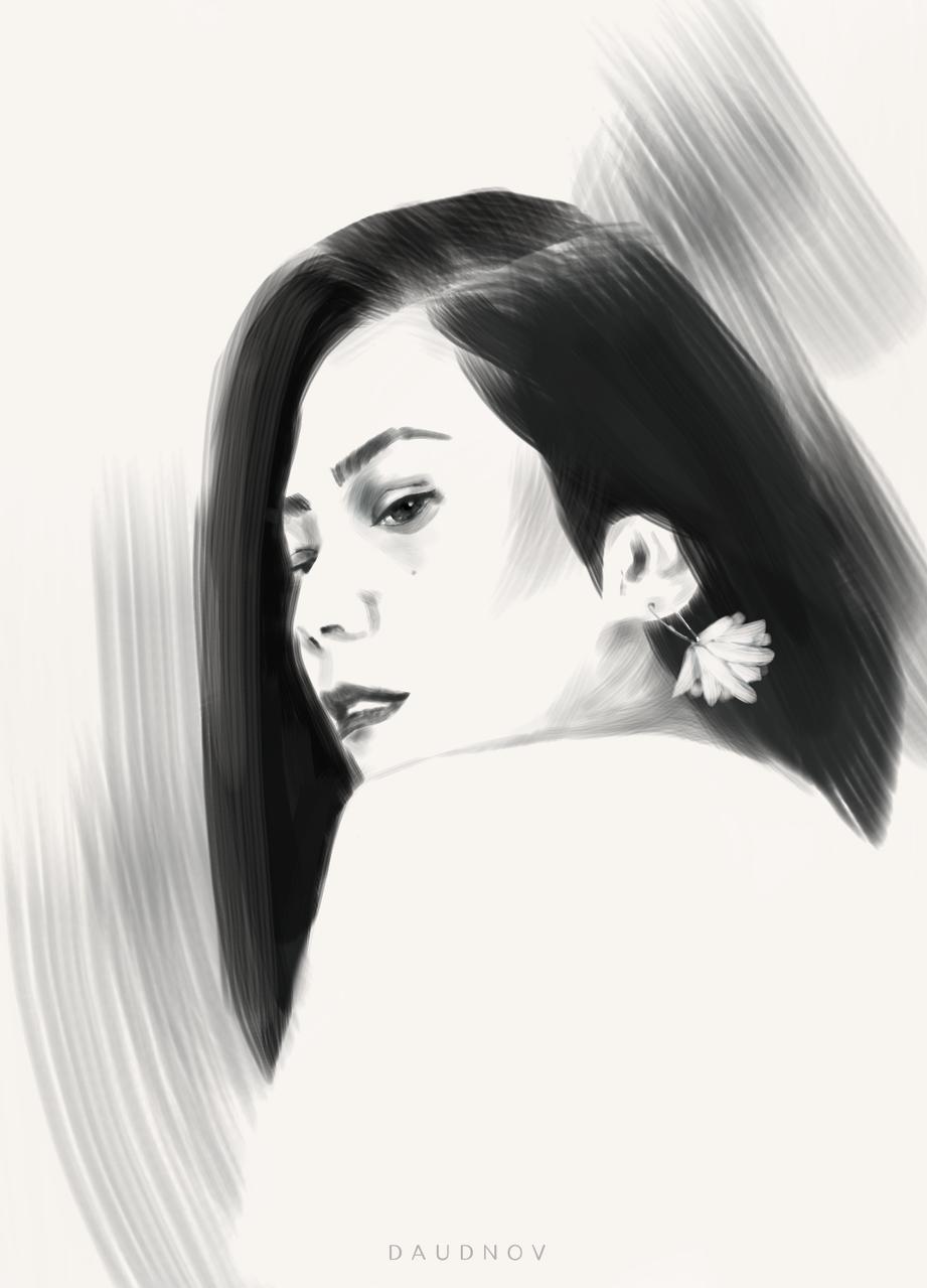 Queen Illust of daudnov medibangpaint sketch flatbrush girl beauty face female bw hair portrait