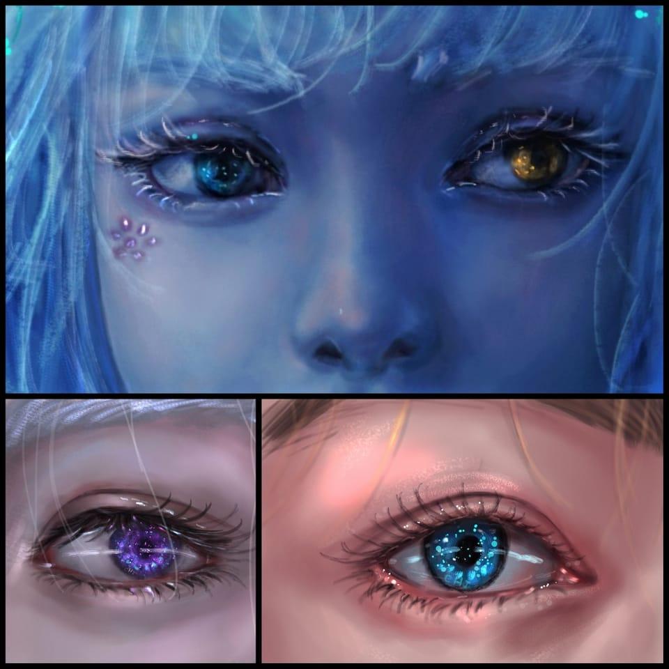 eyes Illust of CHI-NAI illustration girl eyes woman impasto hair original