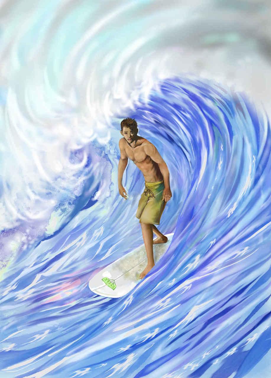 🌊waoooo!! Illust of beach st サーフィン summer サーフボード 波乗り boy ブルー ウエ~ブ sea
