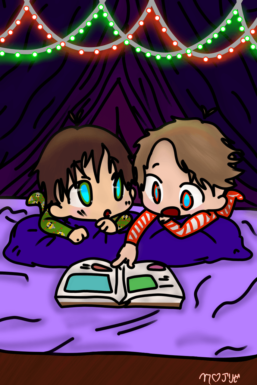 Christmas Time Tubbo_ & TommyInit Illust of Flair Kōri |G!Eret-Ghost SMP| chibi Minecraft DreamSMP Pog Christmas anime TommyInnit Tubbo Kids