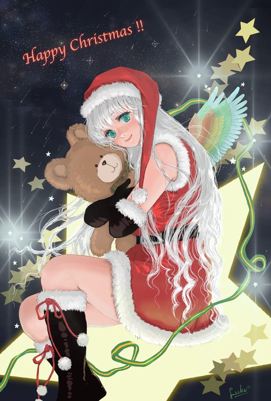 + Happy christmas ! + Illust of Luke uehara December2020_Contest:Santa 夜空 羽 star テディベア 銀髪 girl Christmas ロングヘア