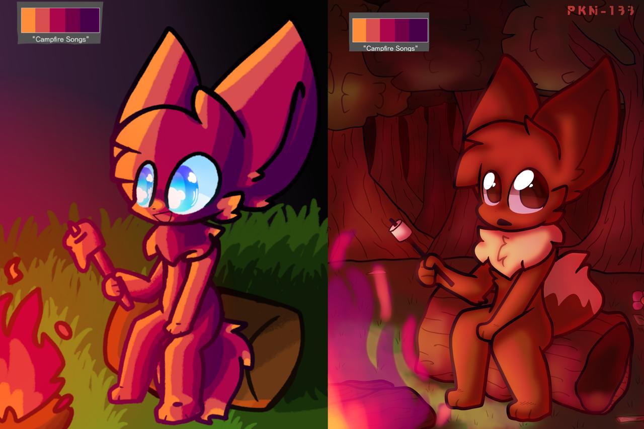 Campfire Songs Illust of ✨ PKN-133 ✨ medibangpaint PKN-133 forest Eevee furry digital cute redraw fire pokemon