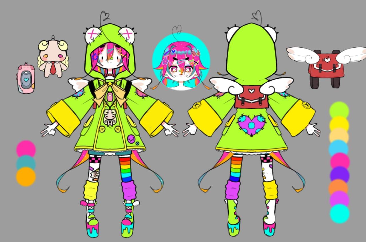 (👁👅👁)but (`⌒´) Illust of aaaawamarine original girl Fingerpaint design cute character MyArt characterdesign oc