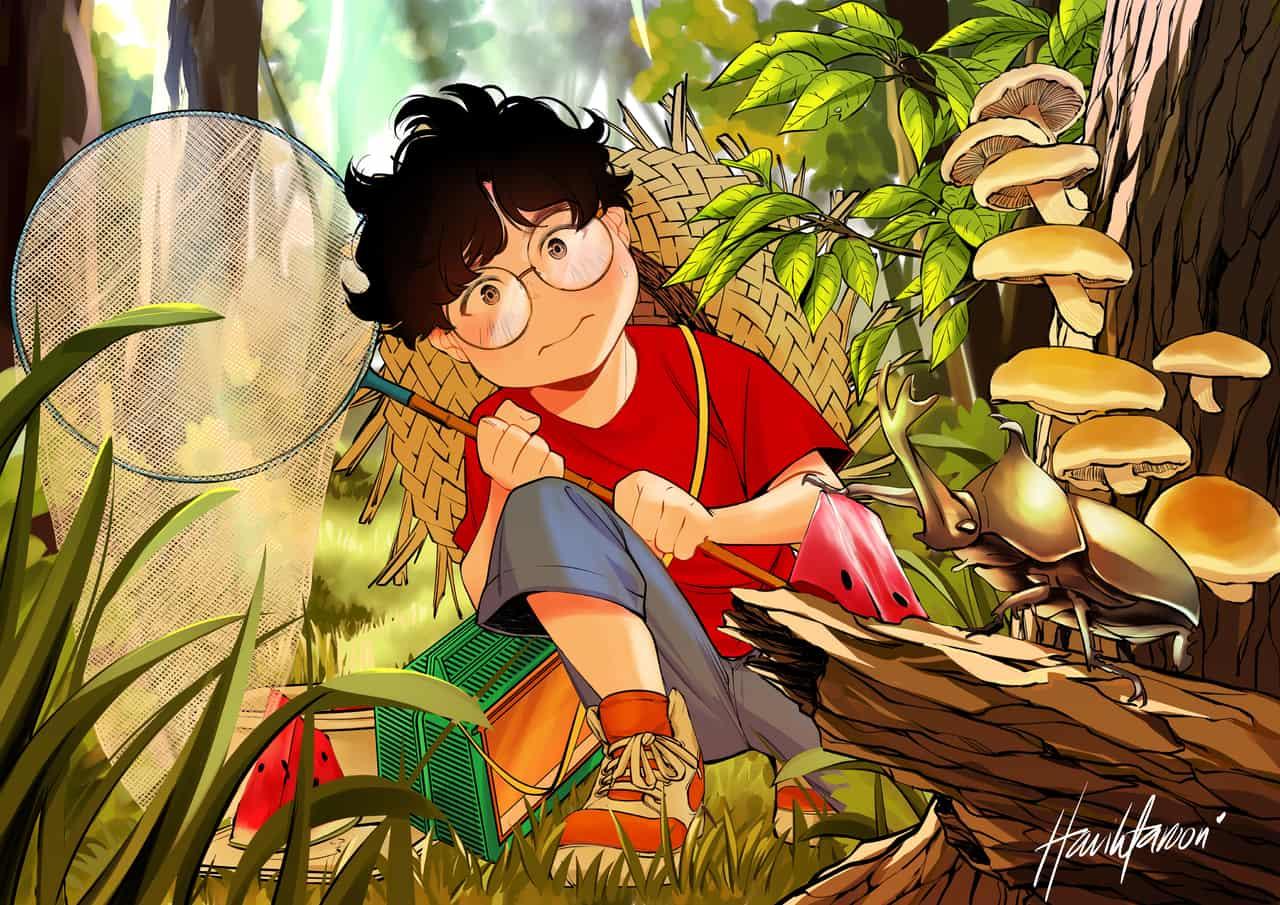 bug hunting  Illust of harihtaroon Jul.2019Contest glasses きのこ harihtaroon 夏休み summer 虫取り カブトムシ boy