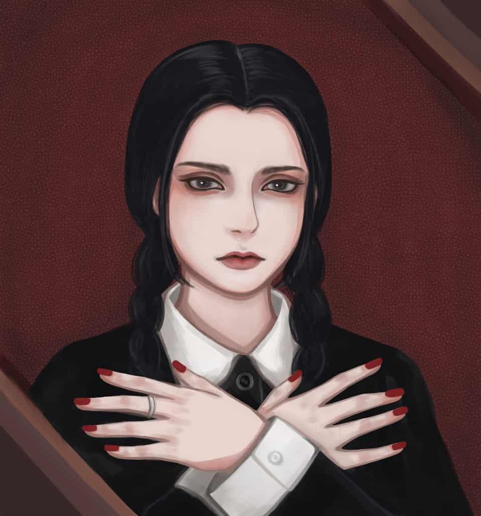 Wednesday Addams Illust of KEI medibangpaint girl Addamsfamily Halloween dark 星期三 Wednesday