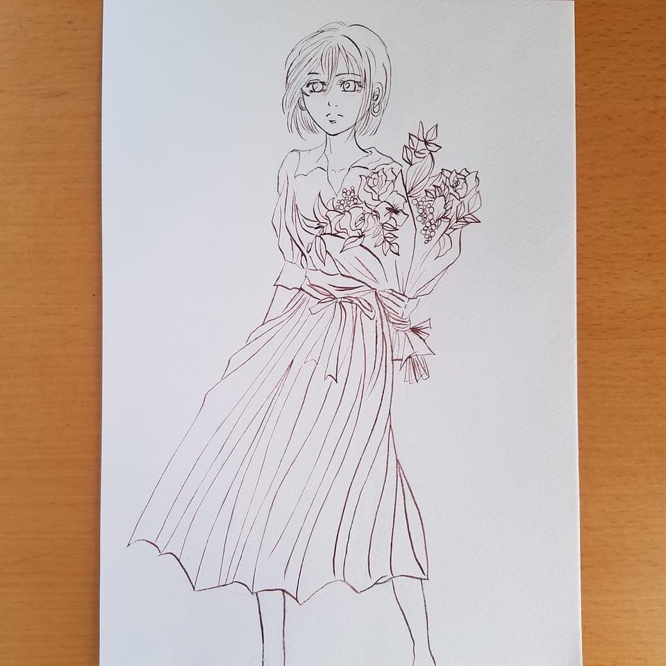 進撃女子に春服着せてみた 線画 Illust of おかかうめ doodle SashaBlouse girl MikasaAckerman AttackonTitan sketch アナログ HistoriaReiss practice line_art