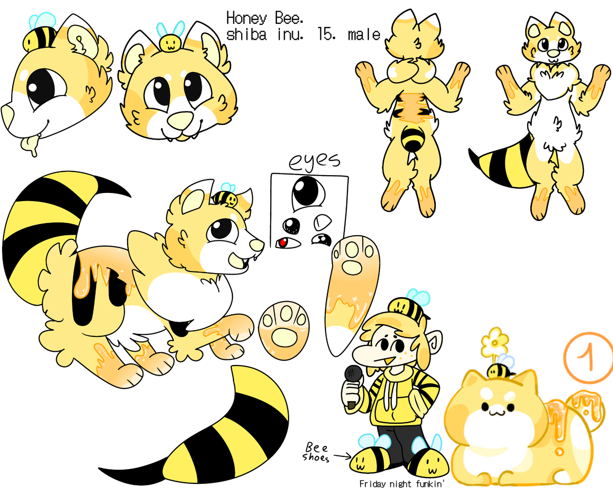 adopt from I'm a ghost Illust of ❄Ash❄ medibangpaint dog honey_bee Friday_night_funkin' adopt cute shiba_inu bee