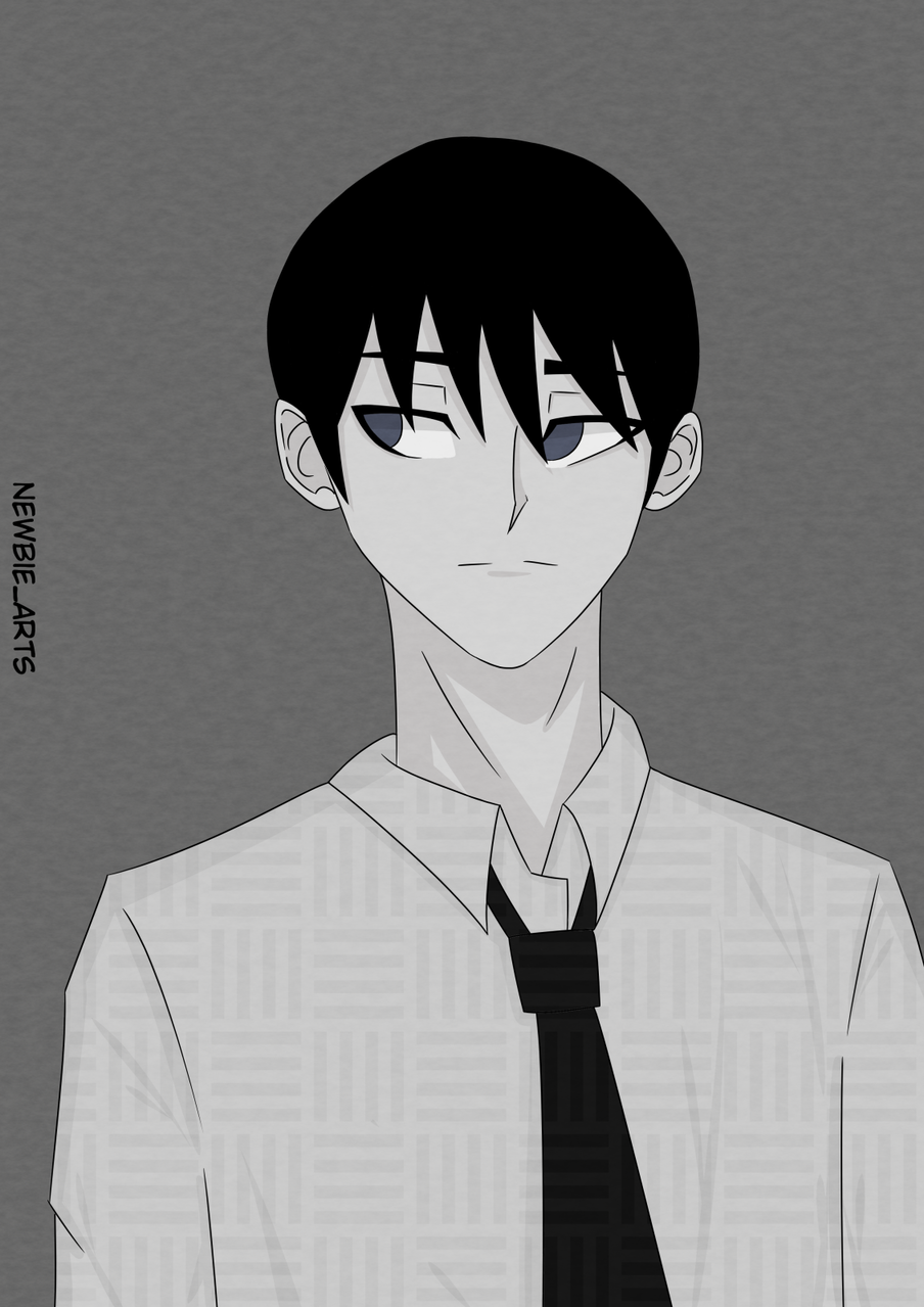 Black Illust of Newbie May2021_Monochrome boy illustration anime