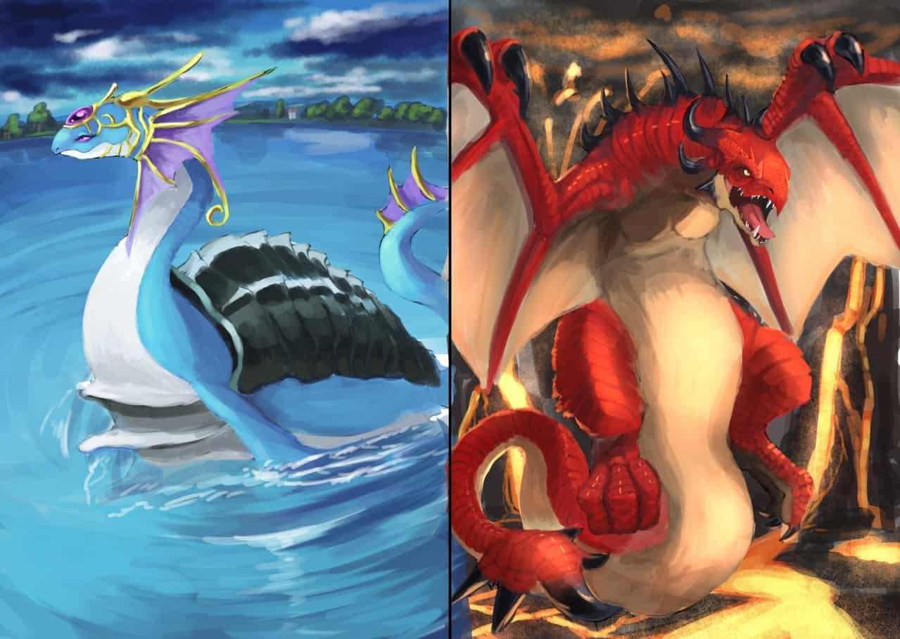 水と火の竜 Illust of apacchi64 March2021_Creature original 竜 dragon