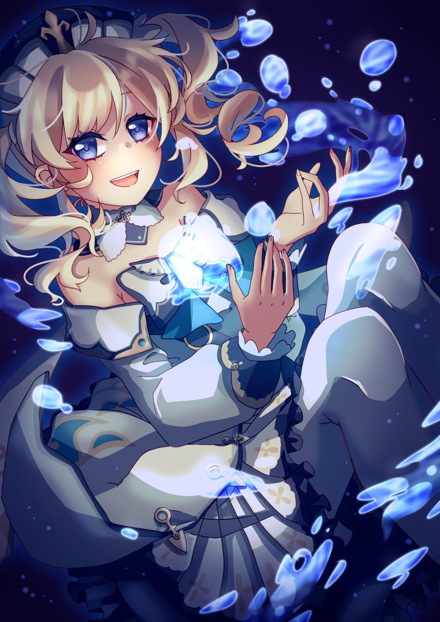 Barbara Illust of Akira Luca blue GenshinImpact girl digital cute illustration fanart water medibangpaint magic