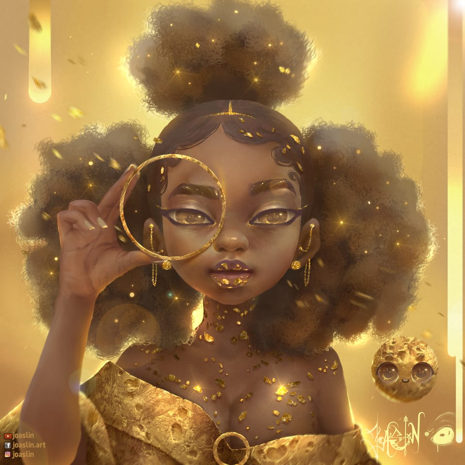 ✨Golden Again✨ Illust of JoAsLiN January2021_Contest:OC art gold girl realistic digital original illustration eyes oc cute