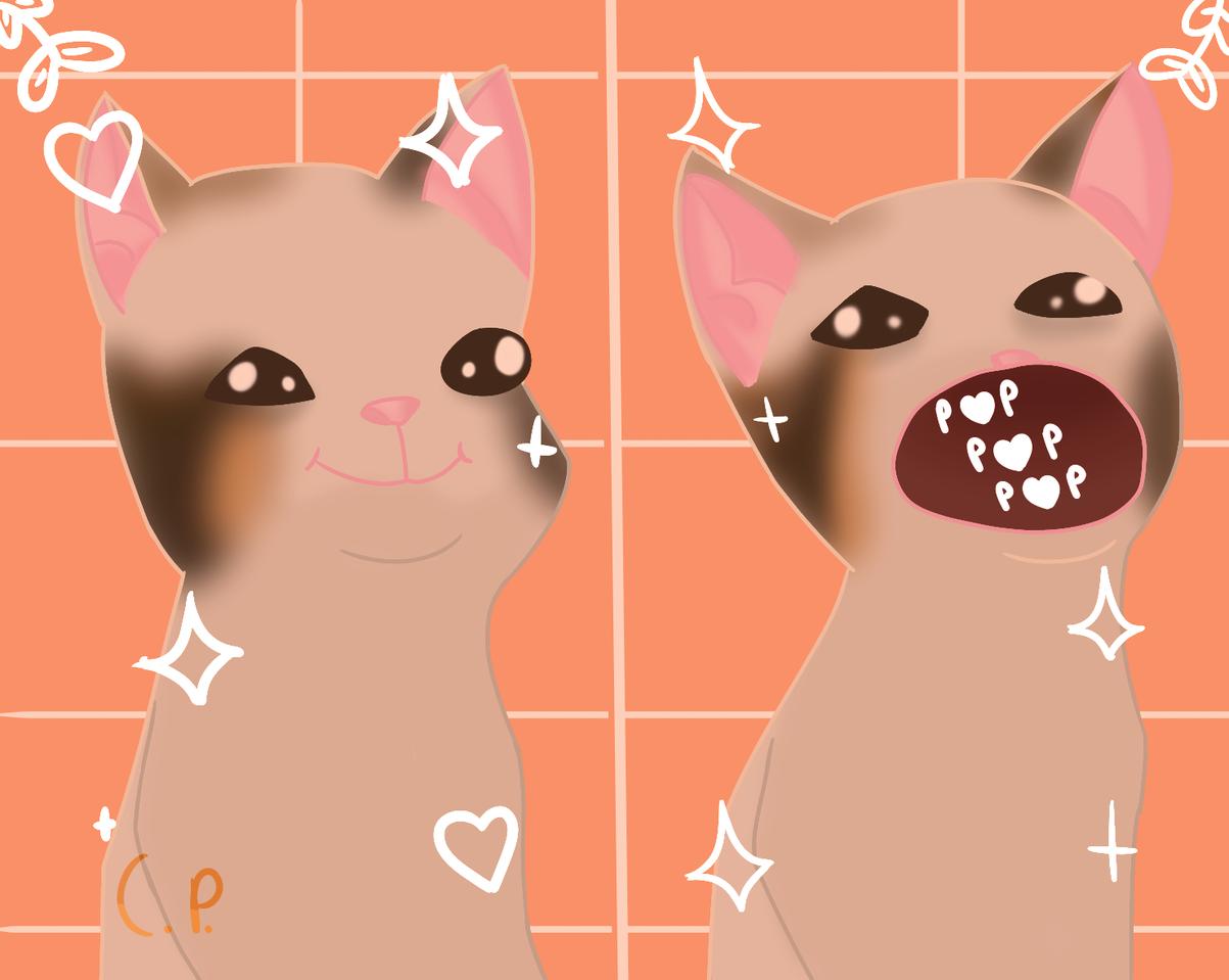 Pop cat but ✨A E S T H E T I C✨ Illust of Creampuffu medibangpaint cat meme funny cute aesthetic digital